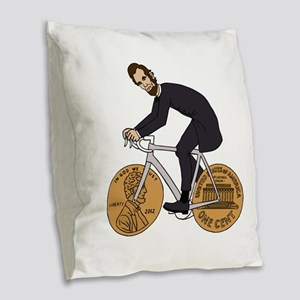 Abraham Lincoln On A Bike With Burlap Throw Pillow