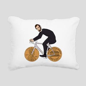 Abraham Lincoln On A Bik Rectangular Canvas Pillow