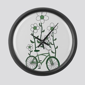 Flower Bike Large Wall Clock