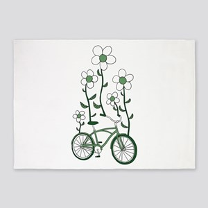 Flower Bike 5'x7'Area Rug