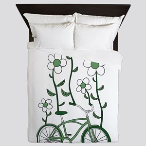 Flower Bike Queen Duvet