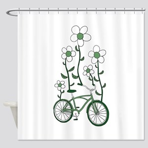 Flower Bike Shower Curtain