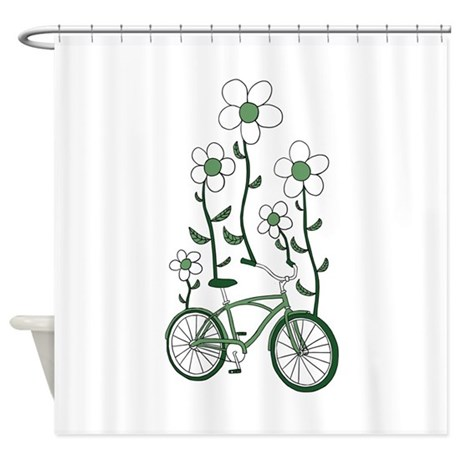 Flower Bike Shower Curtain By ADMIN CP136285437
