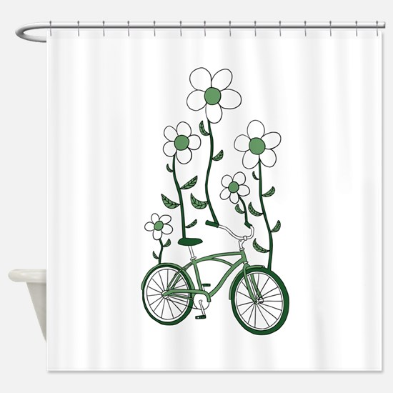Flower Bike Shower Curtain