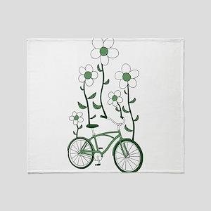Flower Bike Throw Blanket