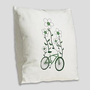 Flower Bike Burlap Throw Pillow