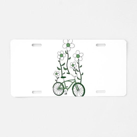 Flower Bike Aluminum License Plate