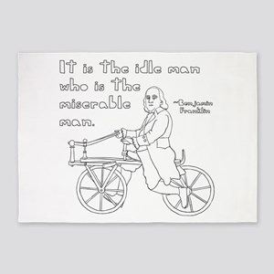 Ben Franklin Quote on bike 5'x7'Area Rug