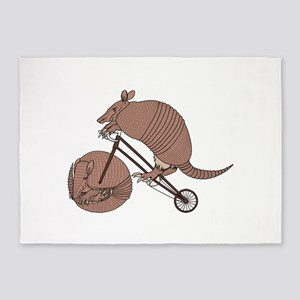 Armadillo Riding Bike With Armadill 5'x7'Area Rug