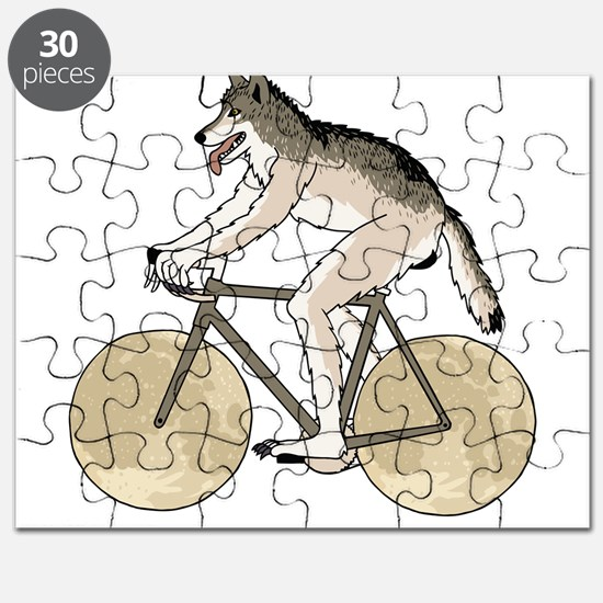 Werewolf Riding Bike With Full Moon Wheels Puzzle
