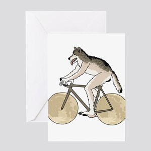 Werewolf Riding Bike With Full Moon Greeting Cards