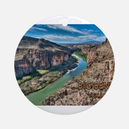 Cliff View of Big Bend Texas Nation Round Ornament