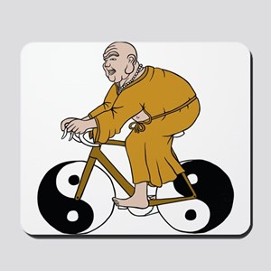 Buddha Riding A Bike With Yin Yang Wheel Mousepad