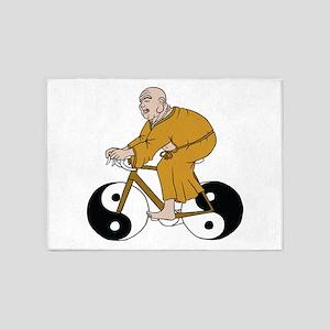 Buddha Riding A Bike With Yin Yang 5'x7'Area Rug