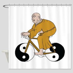 Buddha Riding A Bike With Yin Yang Shower Curtain