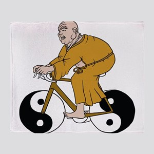 Buddha Riding A Bike With Yin Yang W Throw Blanket