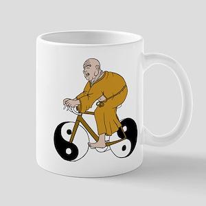 Buddha Riding A Bike With Yin Yang Wheels Mugs