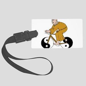 Buddha Riding A Bike With Yin Ya Large Luggage Tag