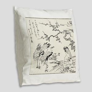 Cranes by Morikuni Burlap Throw Pillow
