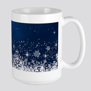 Decorative Blue Winter Christmas Snowflakes Mugs