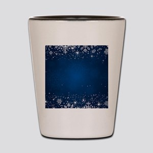 Decorative Blue Winter Christmas Snowfl Shot Glass