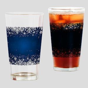 Decorative Blue Winter Christmas Sn Drinking Glass