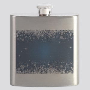 Decorative Blue Winter Christmas Snowflakes Flask