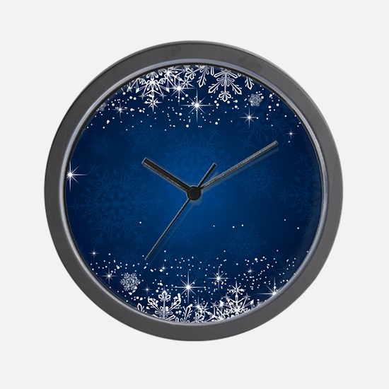 Decorative Blue Winter Christmas Snowfl Wall Clock
