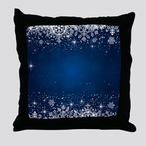 Decorative Blue Winter Christmas Snow Throw Pillow