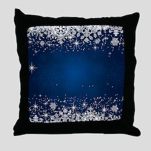 Decorative Blue Winter Christmas Snow Throw Pillow