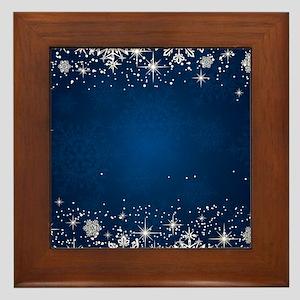 Decorative Blue Winter Christmas Snowf Framed Tile