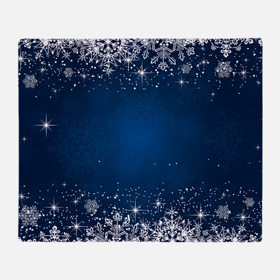 Decorative Blue Winter Christmas Sno Throw Blanket