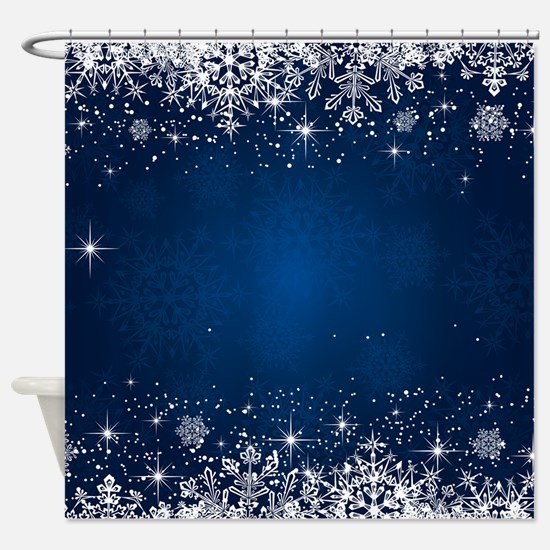 Decorative Blue Winter Christmas Sn Shower Curtain