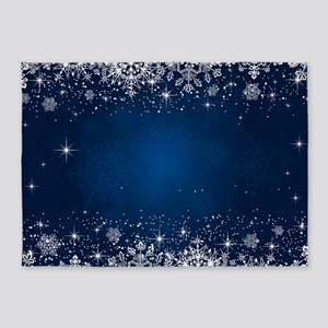 Decorative Blue Winter Christmas Sn 5'x7'Area Rug