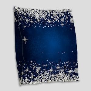 Decorative Blue Winter Christm Burlap Throw Pillow