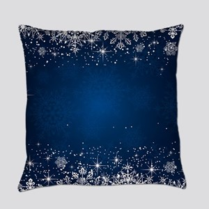 Decorative Blue Winter Christmas S Everyday Pillow
