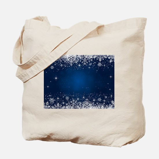 Decorative Blue Winter Christmas Snowflak Tote Bag