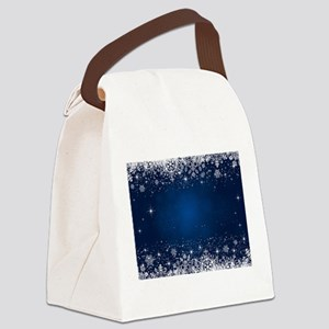 Decorative Blue Winter Christmas Canvas Lunch Bag