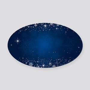 Decorative Blue Winter Christmas S Oval Car Magnet