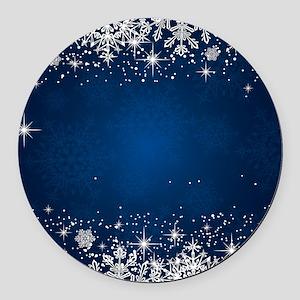 Decorative Blue Winter Christmas Round Car Magnet