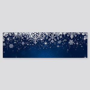 Decorative Blue Winter Christmas Sn Bumper Sticker