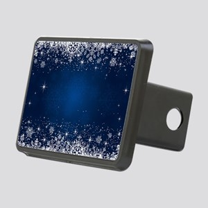 Decorative Blue Winter Chr Rectangular Hitch Cover