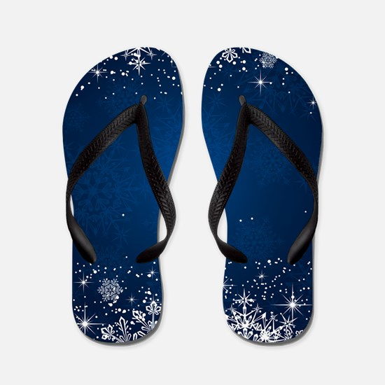 Decorative Blue Winter Christmas Snowfl Flip Flops