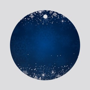 Decorative Blue Winter Christmas Sn Round Ornament