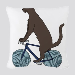 Cat Riding Bike With Yarn Ball Woven Throw Pillow