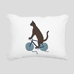 Cat Riding Bike With Yar Rectangular Canvas Pillow