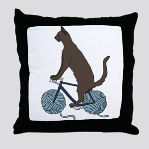 Cat Riding Bike With Yarn Ball Wheels Throw Pillow