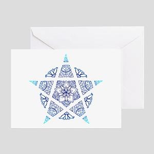 Decorative Pentacle Blue Greeting Card