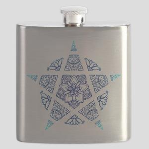 Decorative Pentacle Blue Flask
