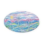 Pastel Country A (Enc) Oval Car Magnet